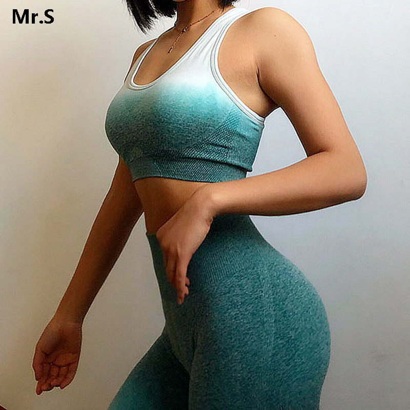 Ombre Energie Nahtlose Sport-Bh für Frauen Push Up Yoga Bhs Gym Crop Top Orange Racerback Workout Bh Fitness Tops active Wear
