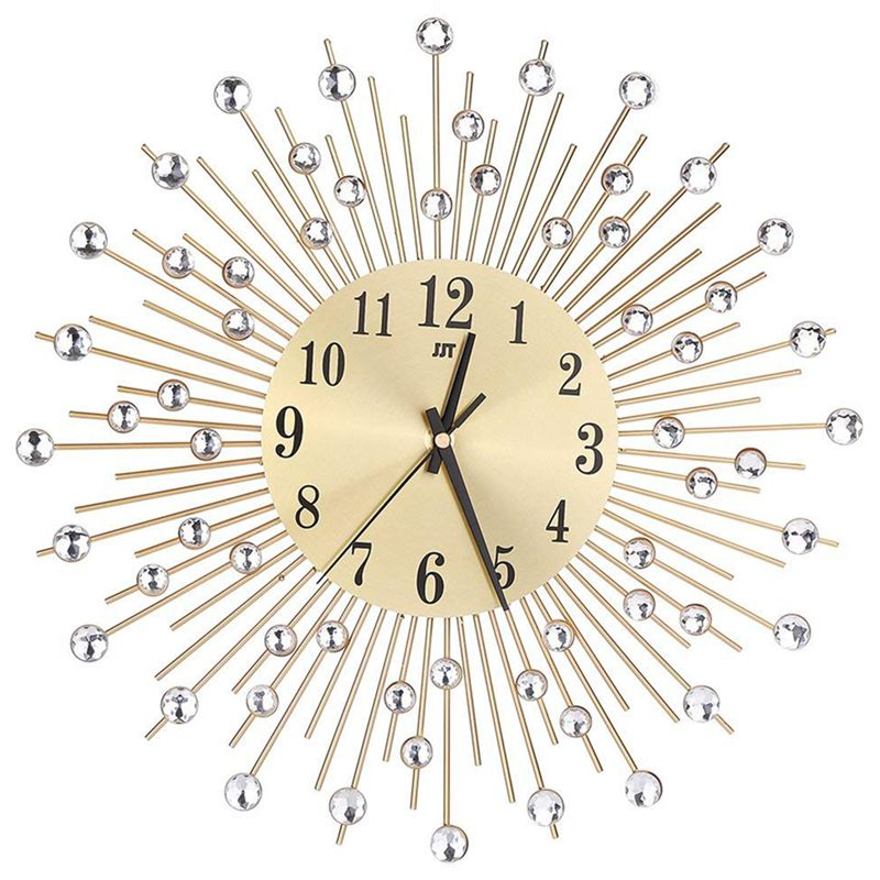 Wall Clock Diamonds Decorative Round Clock Metal Living Room Decor Quiet Quartz Clocks Modern Minimalist Clocks(Gold)