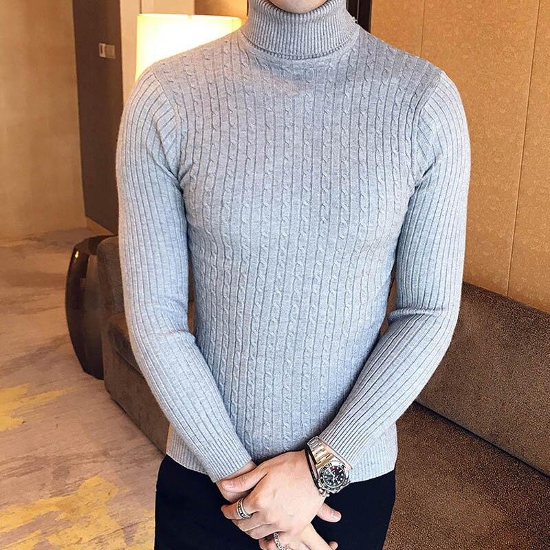 Зимний толстый теплый мужской свитер с высоким воротником, Брендовые мужские свитера с высоким воротником, облегающий пуловер, Мужская трикотажная одежда с двойным воротником - Цвет: 997 grey