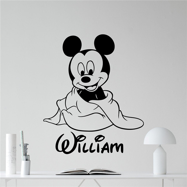 Mickey Mouse Muursticker.Mickey Mouse Muursticker Jongen Custom Naam Mickey Mouse Cartoons