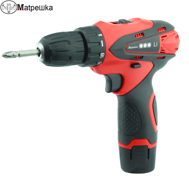 цена на 12V rechargeable battery Screwdriver Electric drill charged drill electric screwdriver lithium battery Two speeds torque drill