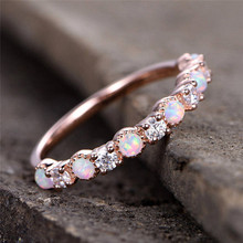 купить ROXI New Opal Wedding Ring Rose Gold Color CZ Zircon Vintage Opal Engagement Rings for Women Jewelry Dropship bagues pour femme дешево