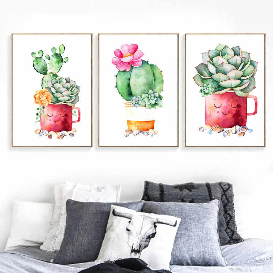 Cactus Semi di Piante Succulente Della Tela di Canapa Pittura Nordic Poster Arte Della Parete Stampe Acquerello Immagini a Parete per Living Room Decor Senza Cornice