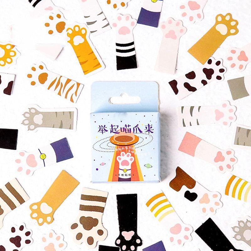 45Pcs/box Cute Cartoon Cat Claw Mini Paper Sticker Decoration DIY Diary Scrapbooking Seal Sticker