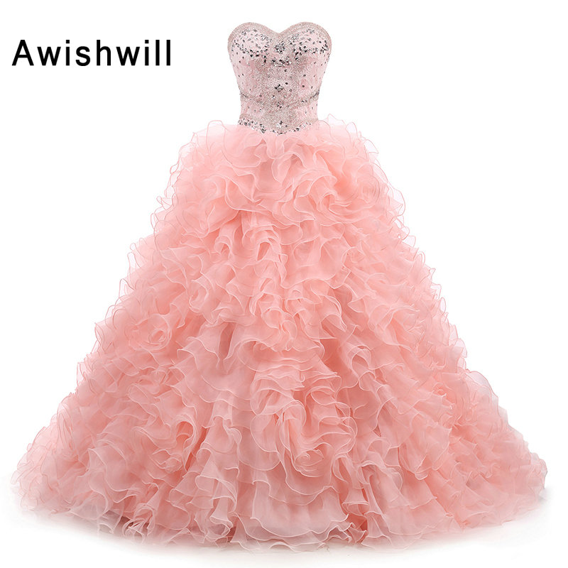 Image réelle douce 16 robe Quinceanera robes De bal perlées cristal sans manches volants Organza Vestidos De 15 Anos Debutante robe