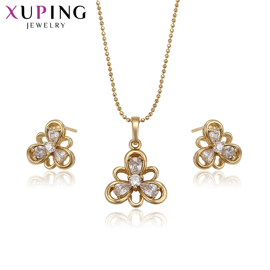 Xuping Fashion Light Yellow Gold Color Plated With Synthetic CZ for Women Girls Hot Sell Jewelry Sets for Wedding S71,2-61916