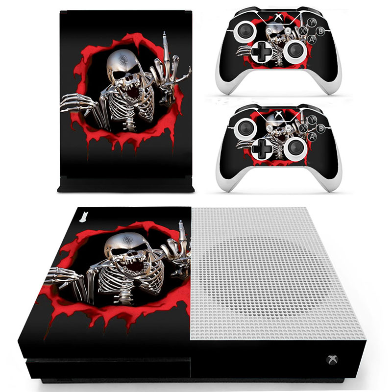 Xbox One X Skull Skin Sticker Console Decal Vinyl Xbox One Controller Video Games & Consoles Faceplates, Decals & Stickers