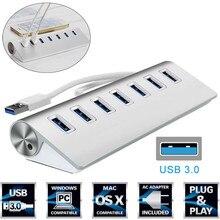 7 портов Алюминиевый USB 3,0 концентратор 5 Гбит/с высокоскоростной адаптер питания для ПК ноутбука Mac