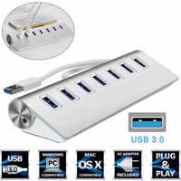 7 ports USB En Aluminium 3.0 MOYEU 5 Gbit/S Haute Vitesse Adaptateur secteur Pour PC Ordinateur Portable Mac NOUVEAU