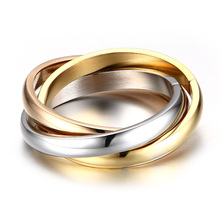 Classic Stainless Steel 3 Rounds Ring Sets For Women