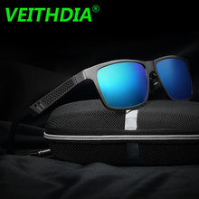 bd675d543 VEITHDIA الأصلي العلامة التجارية شعار HD الألومنيوم المغنيسيوم الرجال مرآة  نظارات للقيادة نظارات Oculos دي سول الاستقطاب النظارا.