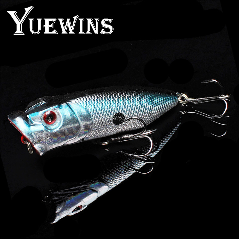 Yuewins 5 colors 70mm 10g Popper Fishing Lure Bait Pesca 6# Hooks Topwater Wobblers Crankbait 3D Eyes Artificial Bait QA310 1pcs 6 5 cm 11 8g top water fishing lures 3d eyes hard popper lure crankbait bass wobblers with 6 hooks fishing tackle