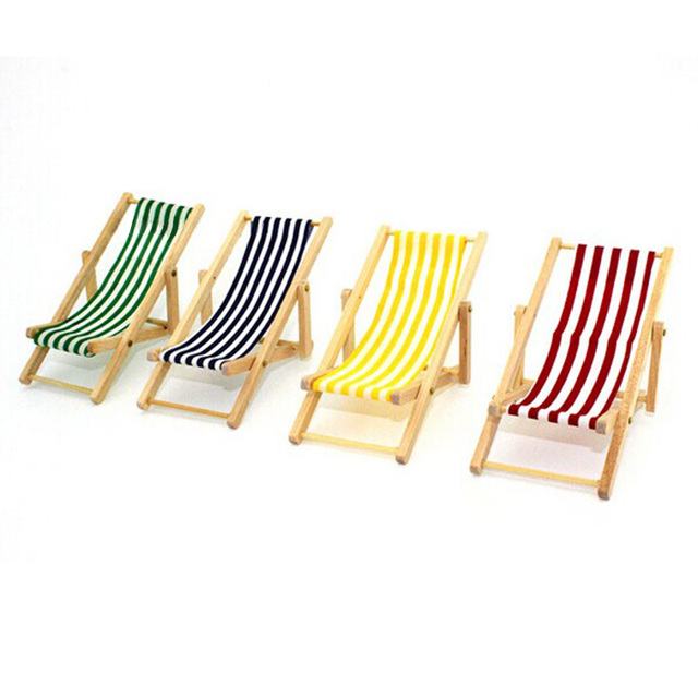 New DIY Dolls House 1:12 Miniature Foldable Wooden Craft Deckchair Lounge  Beach Chair Doll