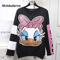 Donna Autumn Women Cartoon Duck Hoodies Sweatshirts Pullover Hoody Glitter Sequined Embroidery Long Sleeve Sweatshirt W309Z