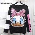 Donna Autumn Women Cartoon Duck Hoodies Sweatshirts Pullover Hoody Glitter Sequined Embroidery Long Sleeve Sweatshirt W309Z