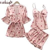Fdfklak Sleepwear 2018 Summer Sleeping Clothes Pyjama Femme Faux Silk Short Pants Pajama Set Pijama Sexy Home Clothes Q1125