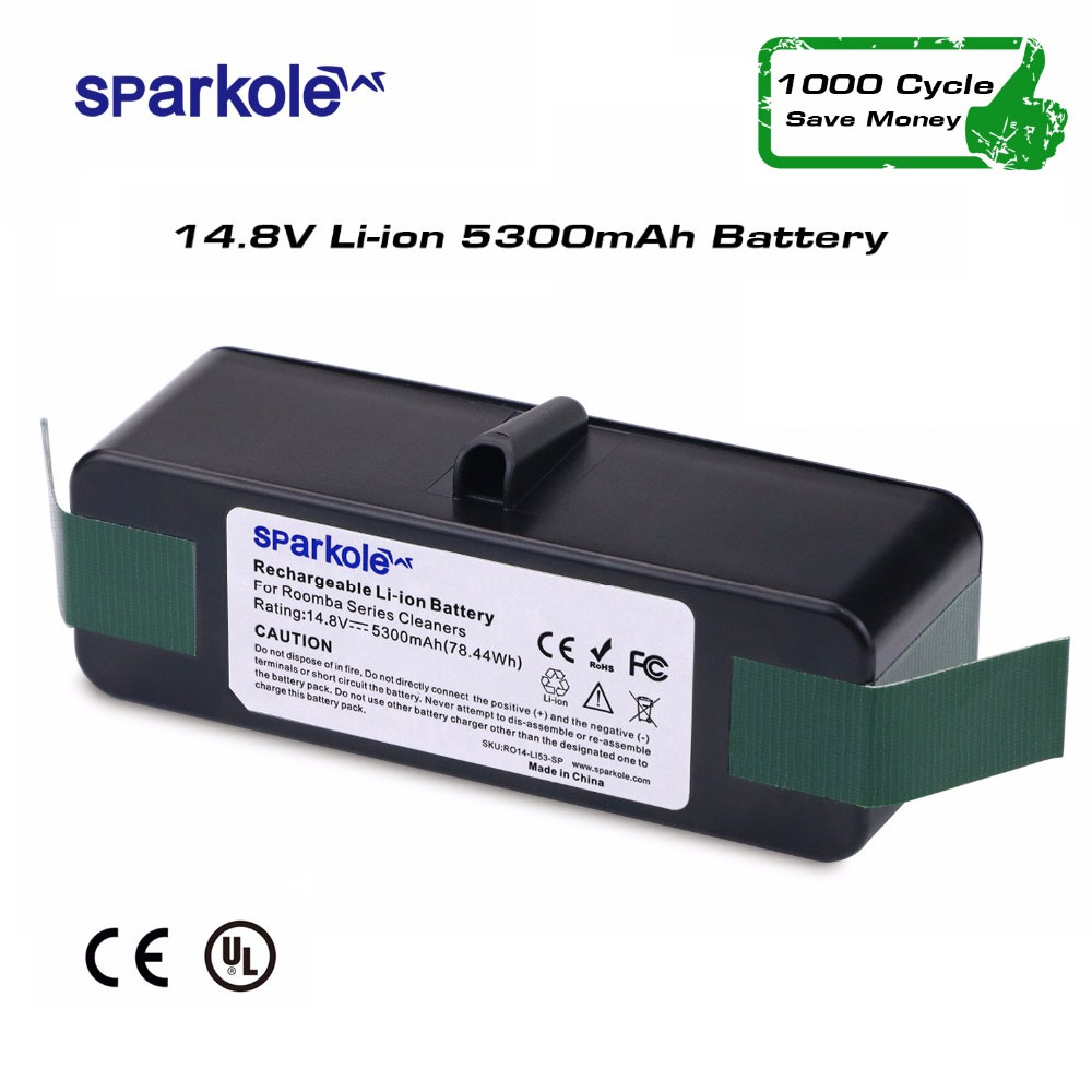 цена на SPARKOLE New Version 5.3Ah 14.8V Li-ion Battery for iRobot Roomba 500 600 700 800 Series 510 531 532 550 585 561 620 630 650 880