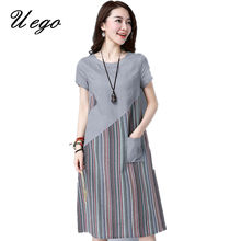 Uego 2021 New Fashion Patchwork Striped Women Summer Dress Thin Light Cotton Linen Pockets Loose Ladies Casual Dress Vestidos