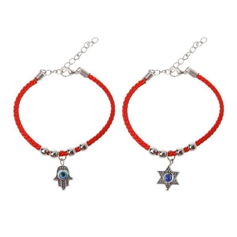 Lucky Kabbalah Red String Hamsa สร้อยข้อมือ Blue Evil Eye Fatima Hand เครื่องประดับ