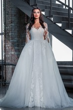 Custom Made New Design 2017 Wedding Dress A-line Long Sleeve Detachable Skirt Elegant Wedding Gowns Vestido De Casamento