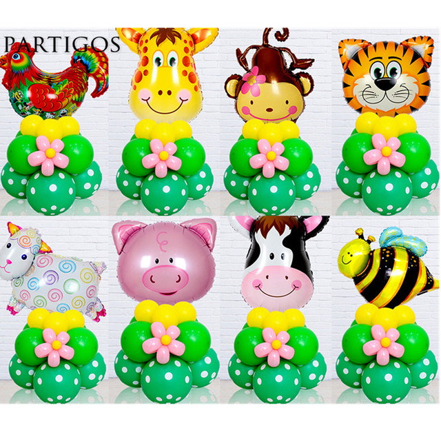 20pcslot Animal Head Foil Balloons Upright Stand Set Balloon Jungle