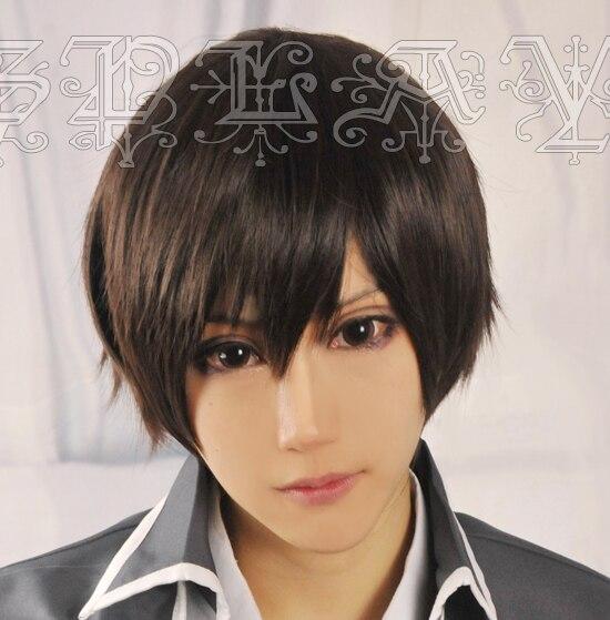 Anime Amagi Brilliant Park Kanie Seiya Cosplay Wigs Short Black Brown Heat Resistant Synthetic Hair Wig + Wig Cap