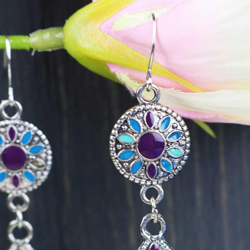 Красочные этнические богемные серьги Каплевидная форма Джокер индийские Висячие серьги для женщин ювелирные украшения ND3611
