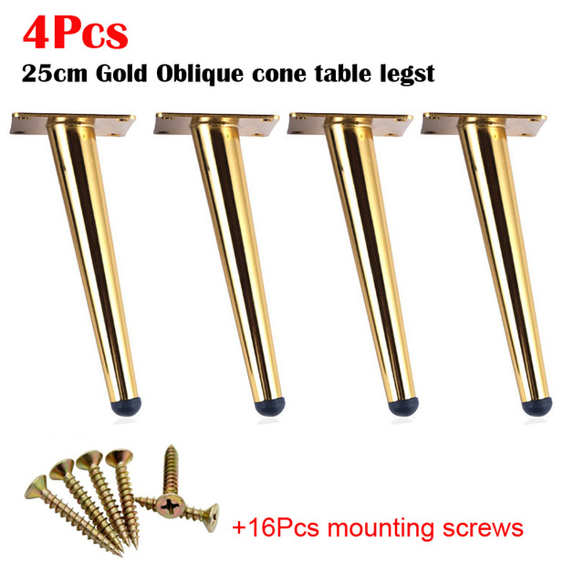 4pcs Stainless Steel Furniture Legs 25cm Tables Cabinets Feet Sofa Bed TV Cabinet Foot With Mounting Screws Golden Oblique Feet