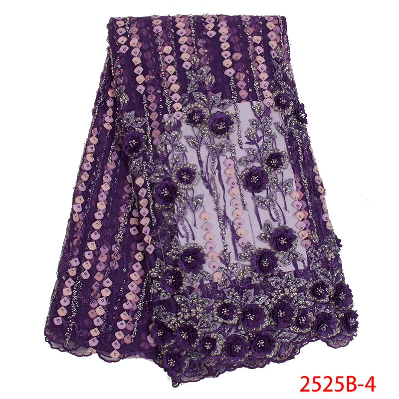 New Arrival Purple Nigerian Lace Fabric with Beads 2019 High Quality Handmade Beads Lace Fabric for