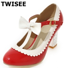 Square heels 7.5 cm sapatos femininos high heels shoes woman Round Toe Patent Leather spring pumps T-Strap Comfortable shoes
