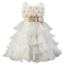 2017 New Flower Girl Dress Red Beaded Princess Tutu Party Wedding Dresses for Girls Christmas Style Sweet Kids Dress Summer