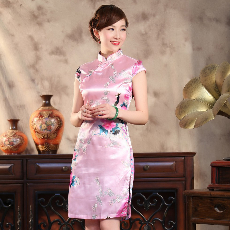 Pink Bridal Wedding Party Dress Chinese Women Traditional Silk ...
