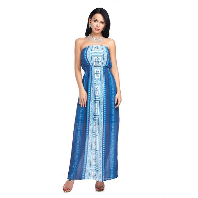 9f7092e3a122 Women Beach Summer Dress 2018 Chiffon Maxi Long Dresses Casual Print Slash  neck Strapless Ladies Strapless Blue Bohemian
