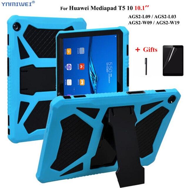 """Voor Huawei Mediapad T5 10 10.1 """"Heavy Duty Armor Case Voor Huawei T5 10 AGS2 W09/L09/L03/W19 Schokbestendig Siliconen Pc Cover + Films"""