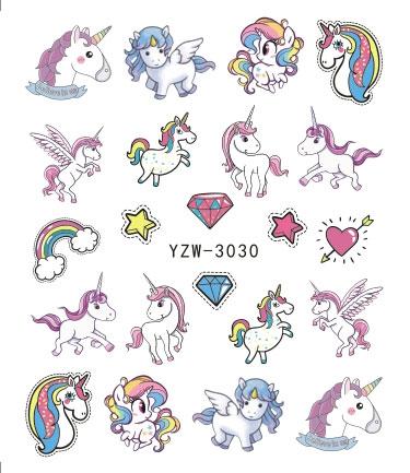 Unicorn Nail Water Sticker Mermaid Rainbow Cartoon Design Slider Nail Art Decal Beauty Foils Decoration
