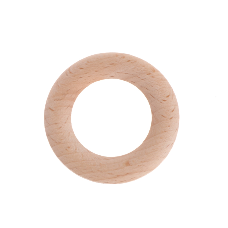 55mm Baby Wooden Teething Rings Necklace Bracelet DIY Crafts Natural Bracelets Play Gym
