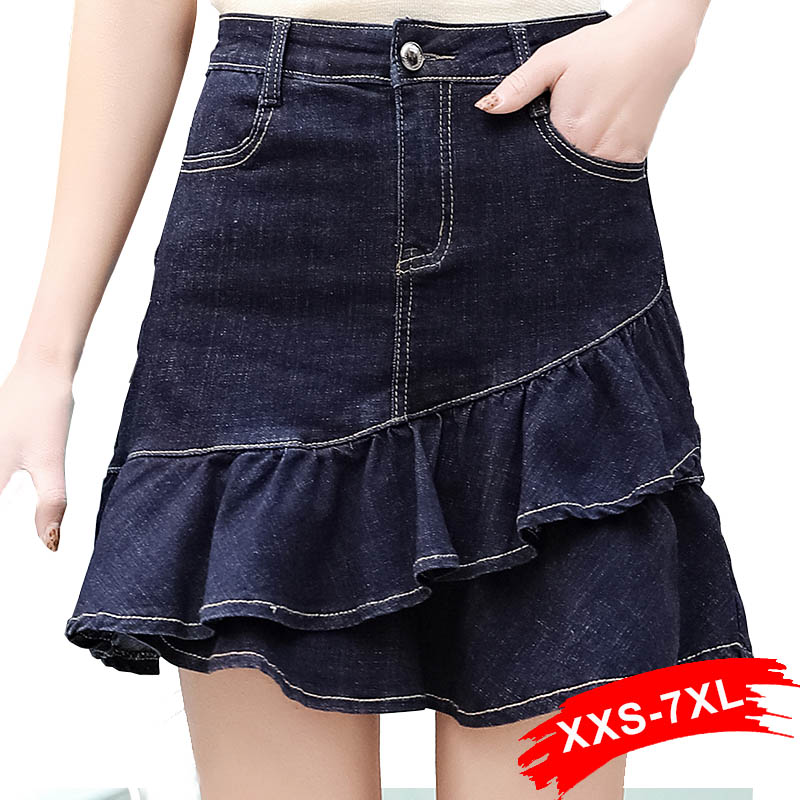 Plus Size Layered Ruffles Mini Denim Skirt 3Xl 5Xl 7Xl Summer High Waist Bandage Bodycon Short Jeans Skorts Women Saia Mujer