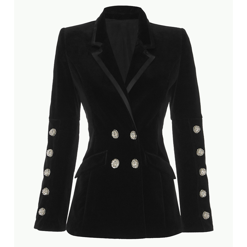 HIGH QUALITY New Fashion 2019 Designer Blazer Women's Strass Diamonds Buttons Velvet Blazer Coat