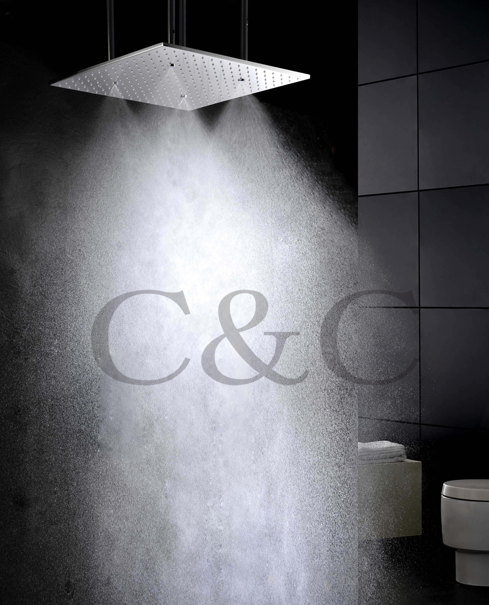 цены 20 Inch Ceiling Mounted Brushed Atomizing And Rainfall Bathroom Shower Head With Arms L-20W