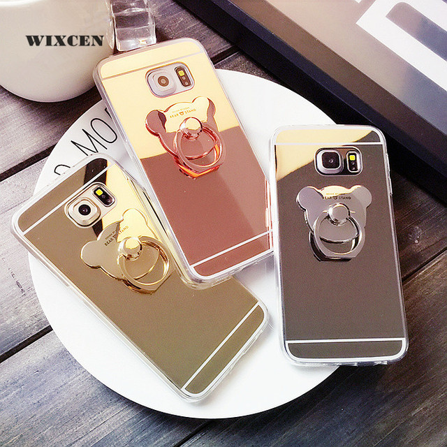 new style 1849a 7eb0e US $2.59 |Wixcen Cute Cartoon Bear Mirror case TPU ring holder stand phone  case for Samsung galaxy note 5 3 4 8 S6 s7edge s8 s9 plus cover-in Fitted  ...