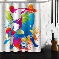 Outlet Seller Custom Playing Men With Soccer Waterproof Bathroom Fabric Shower Curtain 60 X 72 48