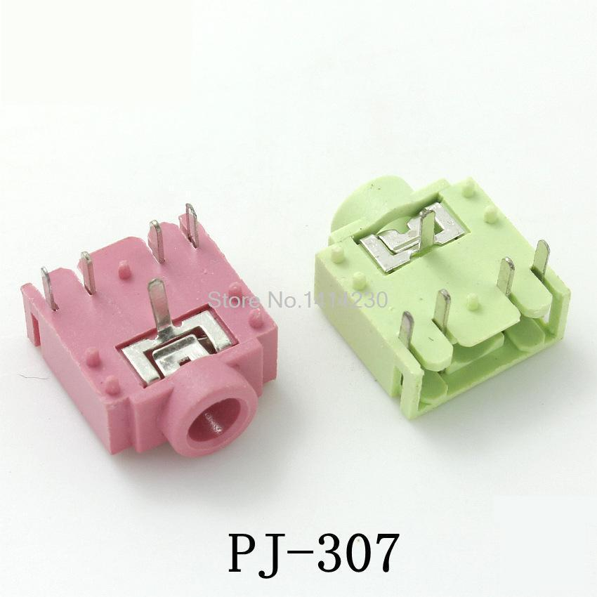 10Pcs PJ-307 PJ307 3.5mm Stereo Jack Socket Audio Jack Connector PCB 3F07 5pcs Pink And 5pcs Green