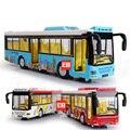 Веселые красочные моделирование 1:50 масштаб автобус с кондиционером deccast модель автомобиля вытяните назад сплава toys with light and muscical дети