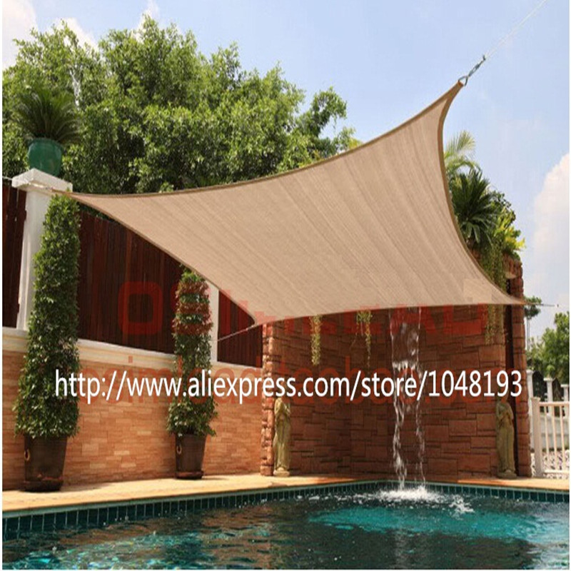 Sun shade sail 5*5m square sunscreen HDPE shading net anti uv waterproof toldo awning fabric gazebo for garden swiming pool-in Shade Sails u0026 Nets from Home ... & Sun shade sail 5*5m square sunscreen HDPE shading net anti uv ...