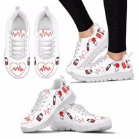 96ead27d2140 Nurse Hospital Casual Work Flats Female Heart Printed Loafers Summer Women s  Breathable Sneaker Mesh Shoes For