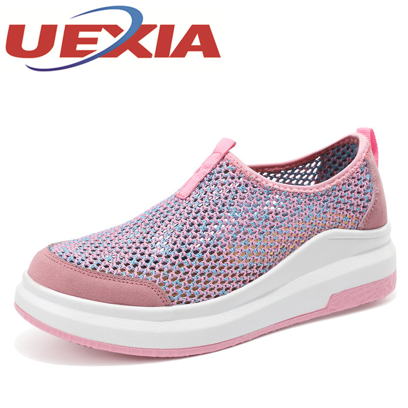 Women Slip On Flats Summer Casual Mesh Shoes Outdoor Breathable Sneakers Walking Platform Shoes Female Colors Ladies Zapatillas summer women slip on loafers breathable light sole flats shoes cheap walking sneakers casual woven shoes for women nurse shoes