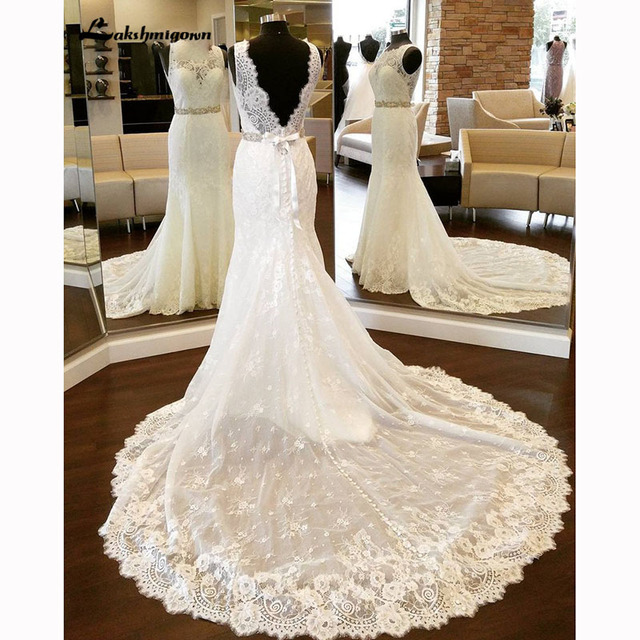 f396d2d832e2a Elegant Backless Sexy Mermaid Wedding Dresses Lace With Beaded Sashes Long Train  Wedding Gown robe de mariee