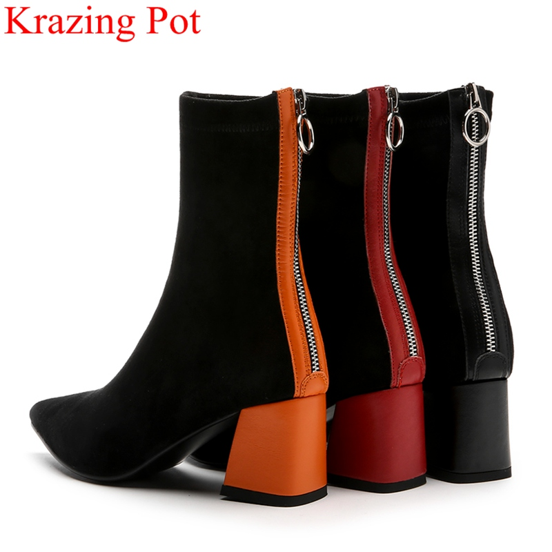 2019 pointed toe keep warm zipper flock mid calf boots high heels mixed colors office lady