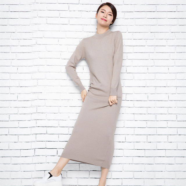 dc995bea2f80 Longer Dress Women Spring Antumn Cashmere Skirts Hot Sale Sweaters ...