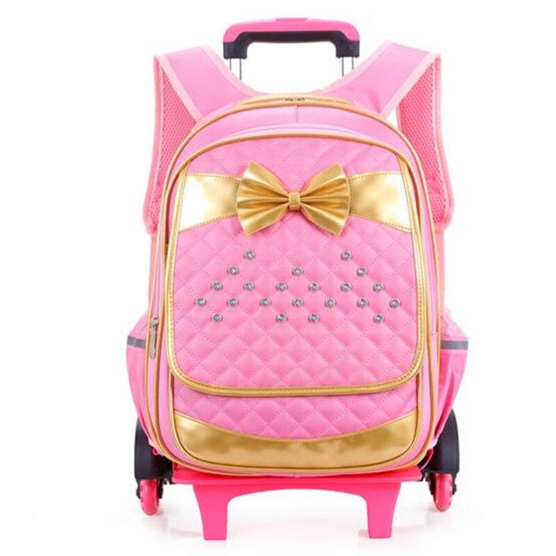 ФОТО Pull rod School bag 2-6 grade lovely bowknot Children's bag Fashion High quality Nylon princess girls Travel backpack wearproof